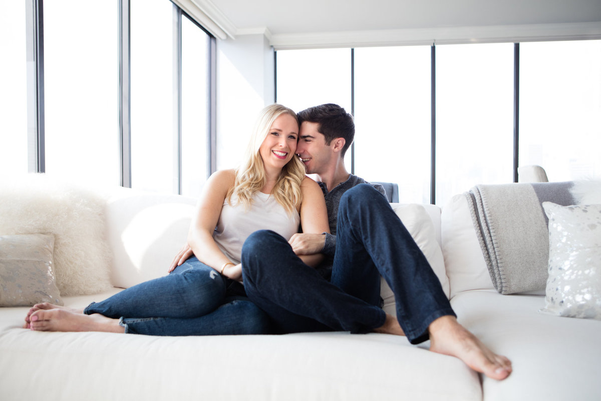 Beautiful Engagement Photos in the Couples Sky Rise Apartment in San Francisco