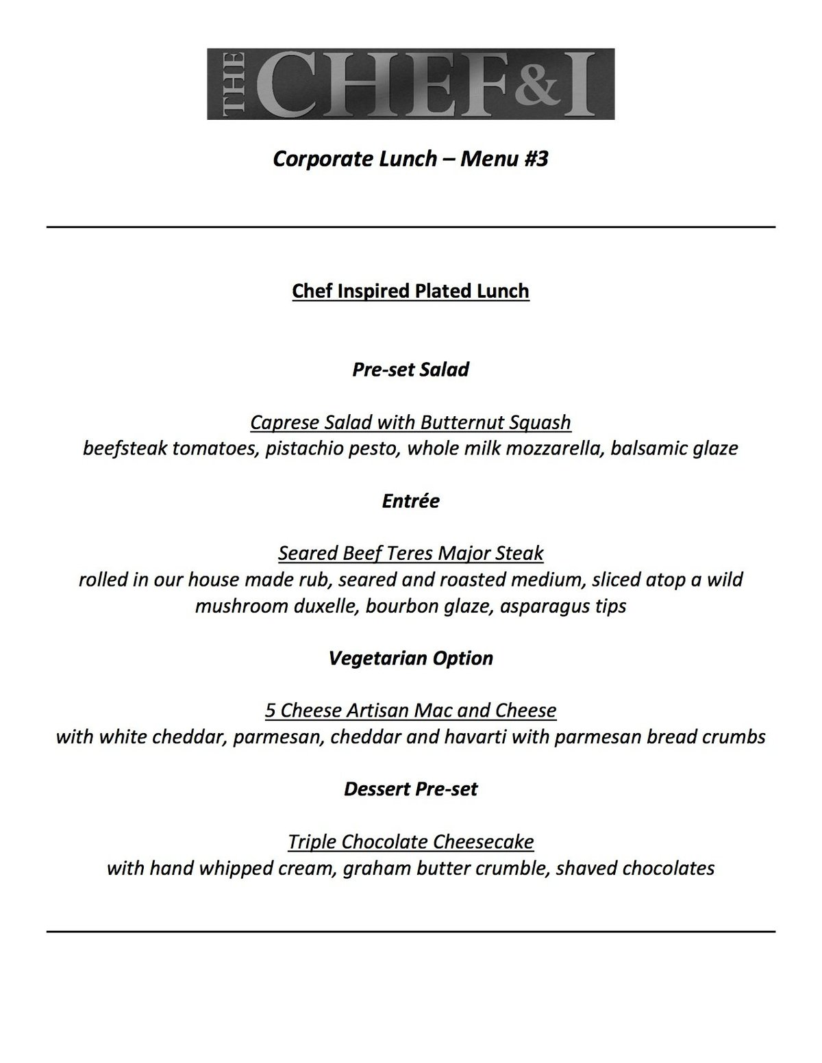 Corporate Lunch Menu 3