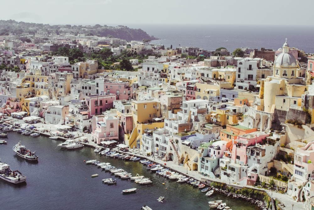 Marina Corricella Viewpoint in Procida Italy Island off the coast of Naples