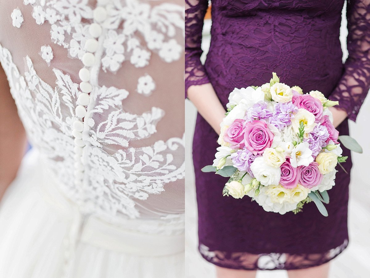 purple and lace wedding details