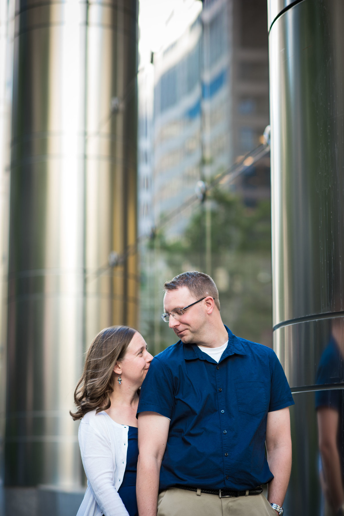 Engaged couple poses, Chicago IL.