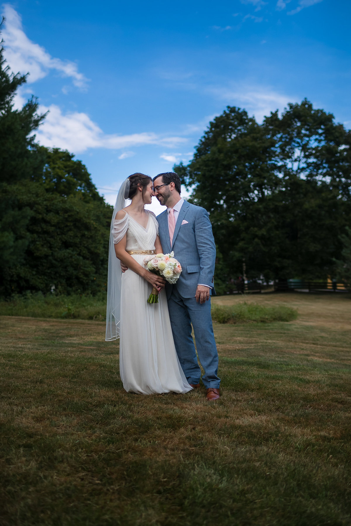 Brooklyn Wedding Photographer | Rob Allen Photography | Destination Wedding Photographer at Mt. Sinai New York  bride and groom heads together for portrait