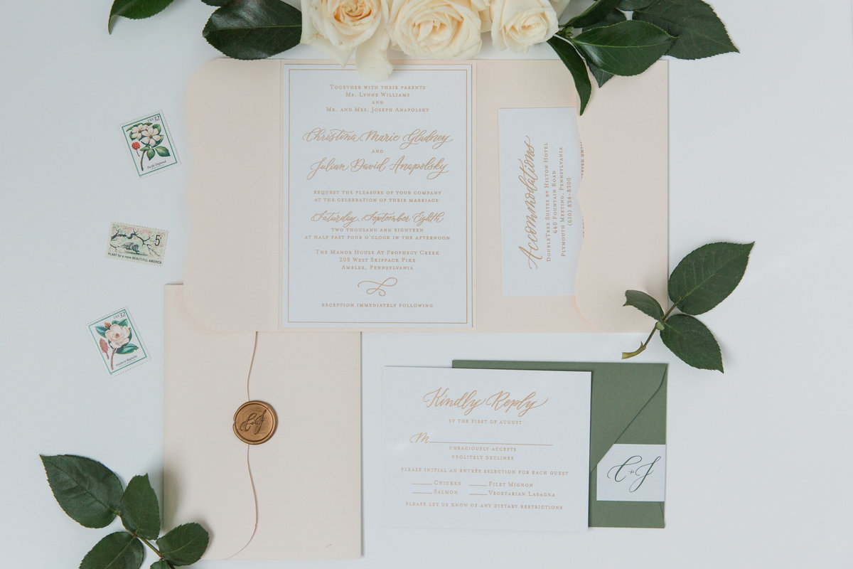 Lewes Lettering Co custom wedding invitation suite with gold ink