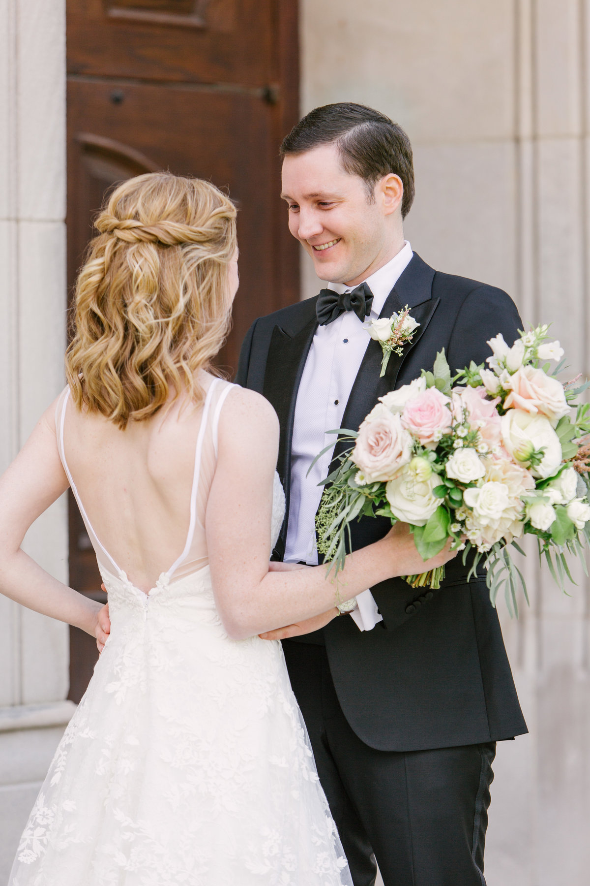 Scottish Rite Cathedral Wedding First Look Reaction Photo