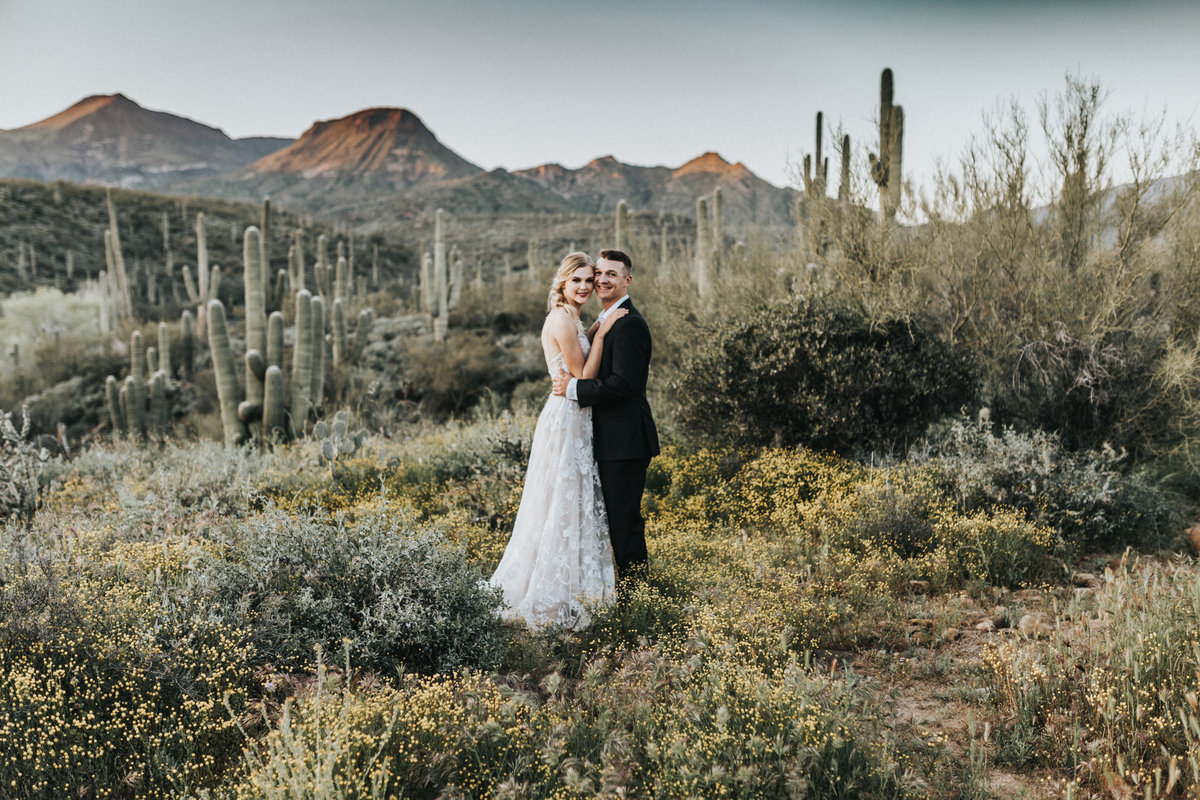 Bride and groom portrait in the desert of Phoenix AZ. Arizona elopement photograher