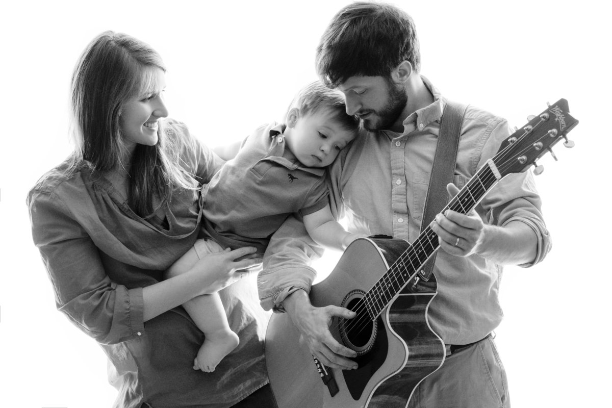 Family Portrait Dad with Guitar by King and Fields Studios Charleston SC