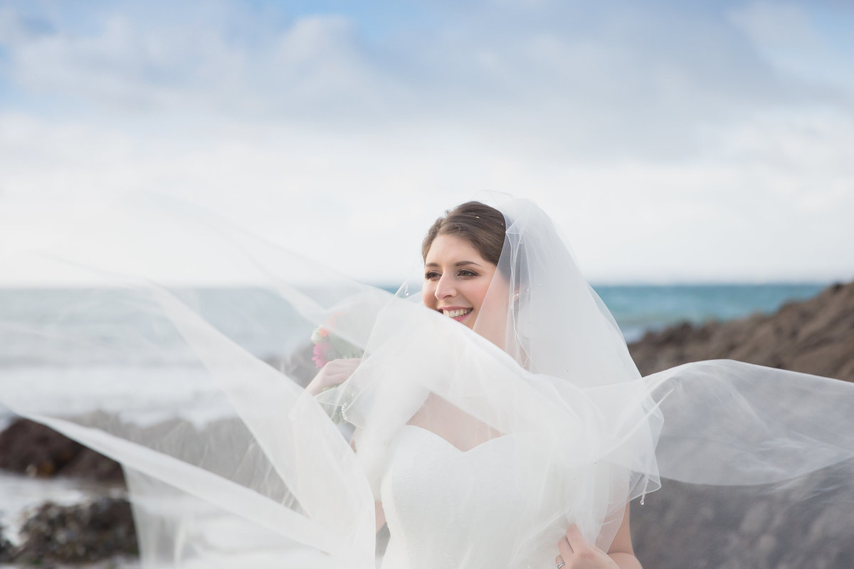 bride at polhawn fort beach