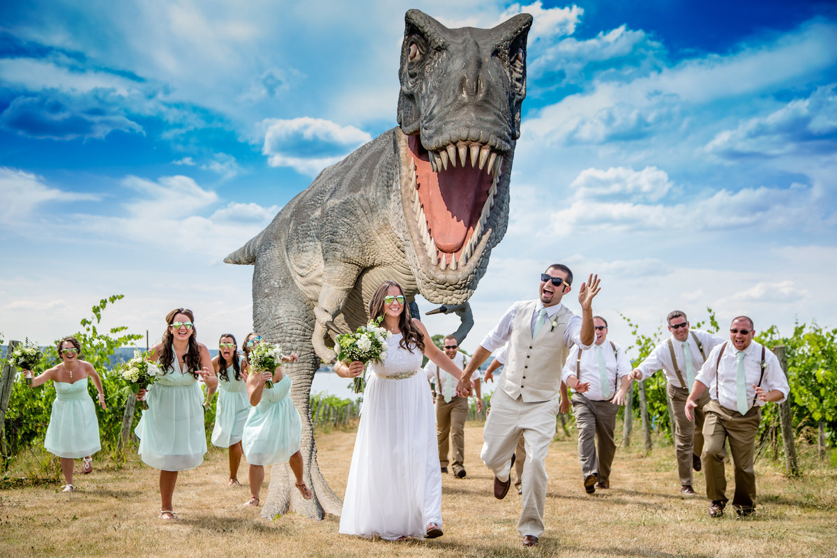 11 wedding photography T-rex Chasing Bridal Party