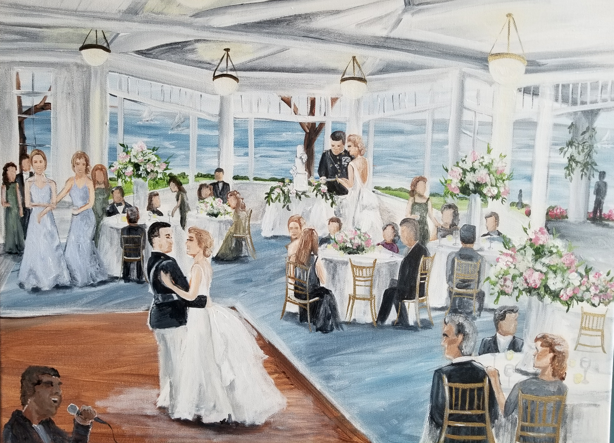 Sarah and Sam share their first dance during their Gibson Island Yacht Club live wedding painting near Annapolis, Maryland