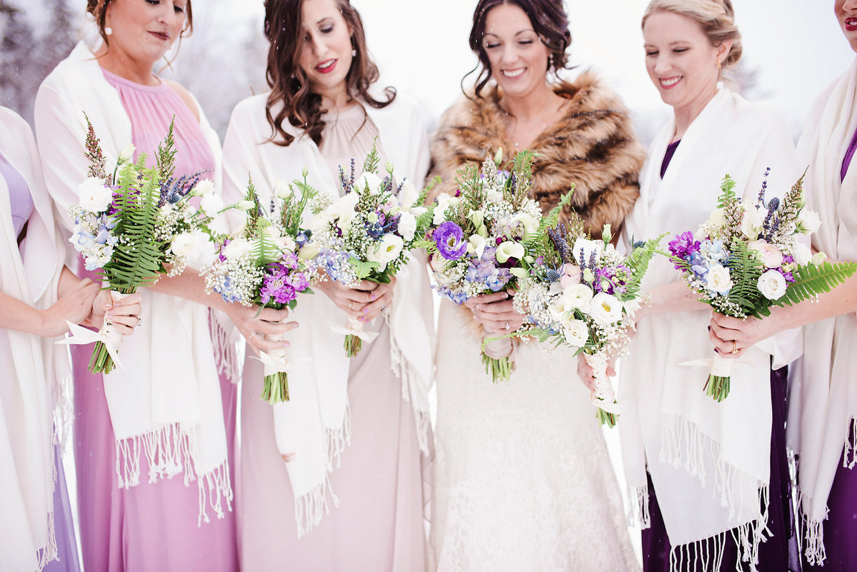 bride and bridesmaids Vermont winter wedding