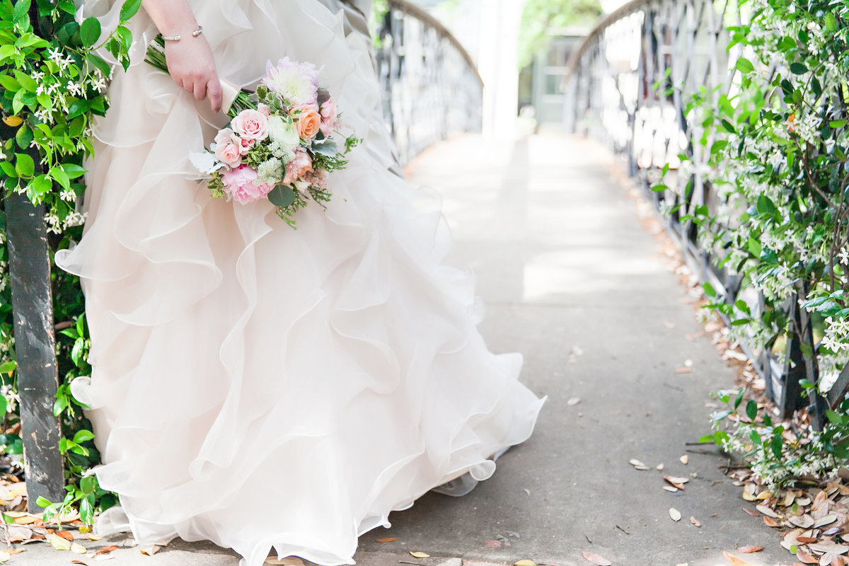 Savannah Spring Wedding Pink Peonies Romantic Bridal Portrait Flowers Detail River Street