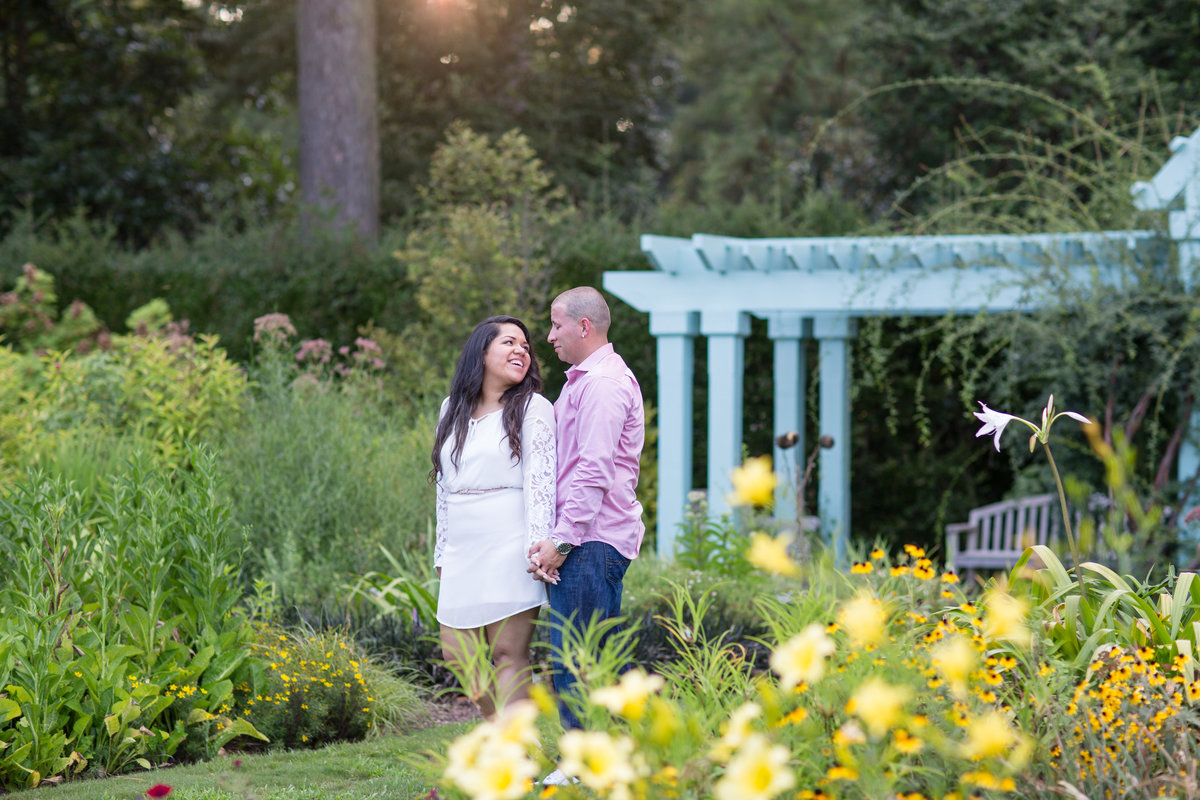 couple in the perineal garden at norfolk botanical garden