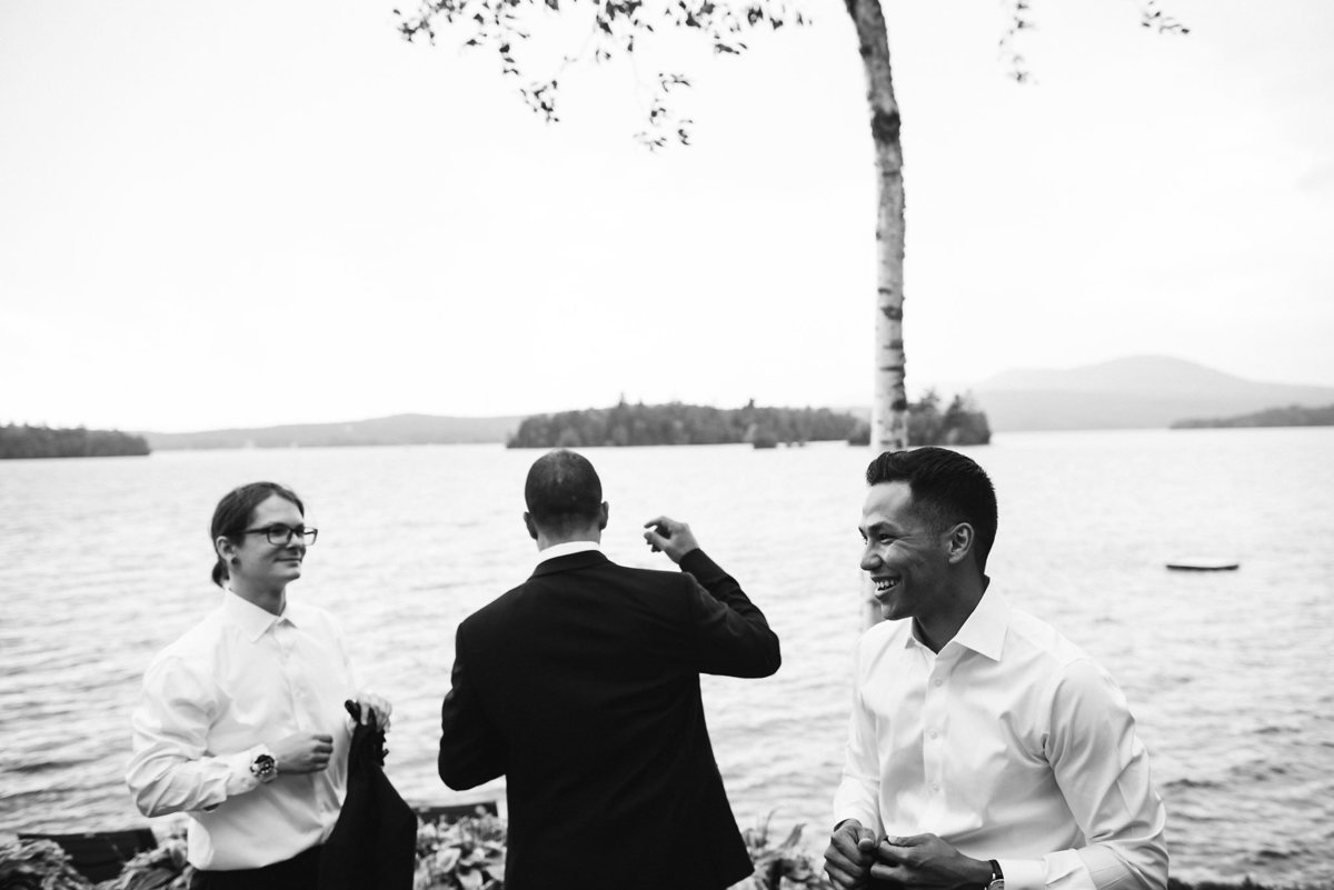 groom getting ready, black and white photographer, Vermont wedding photographer