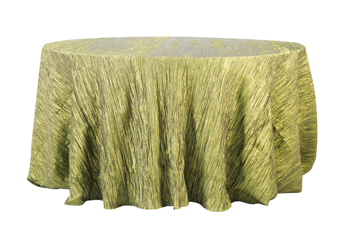 132'' Rd Light Olive Crinkle Taffeta