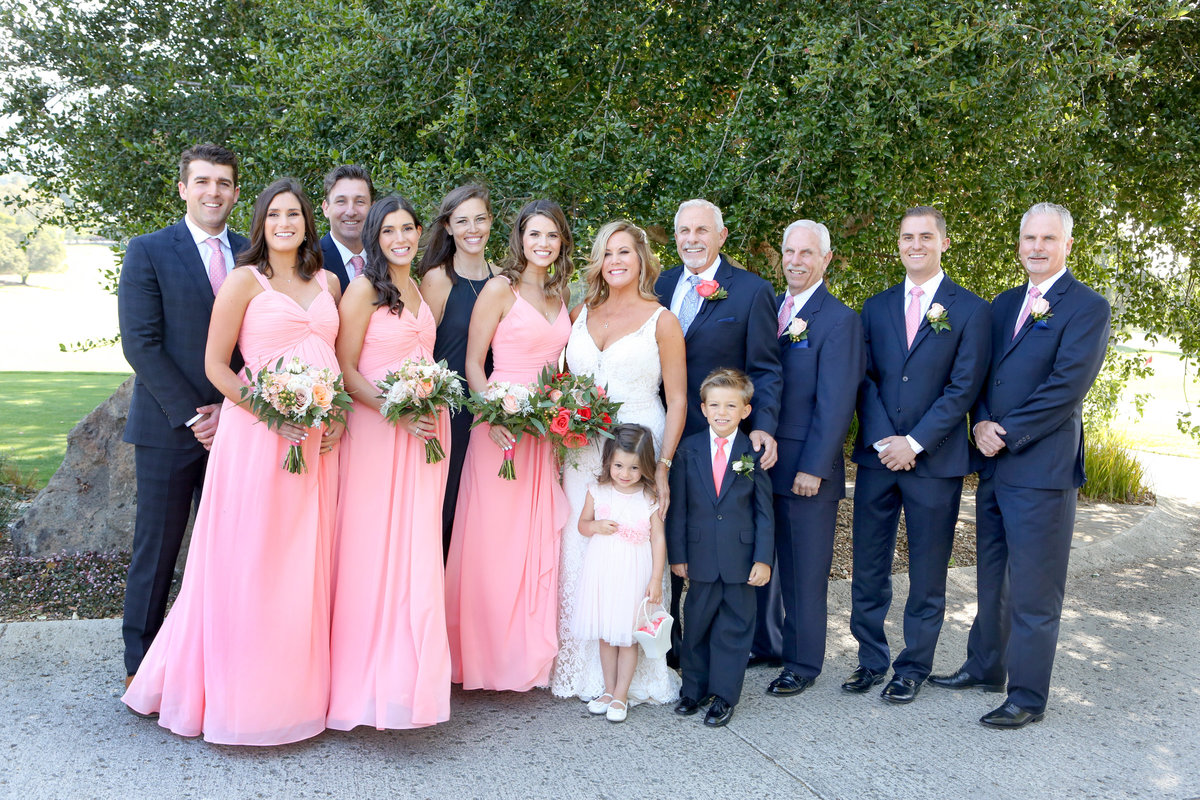 Deneffe studios group portrait of bride and groom and family, los altos wedding