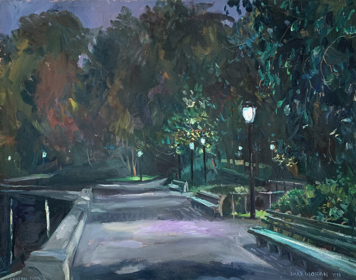 Central Park dusk by the Boat Pond 24x30 ooc 6,000