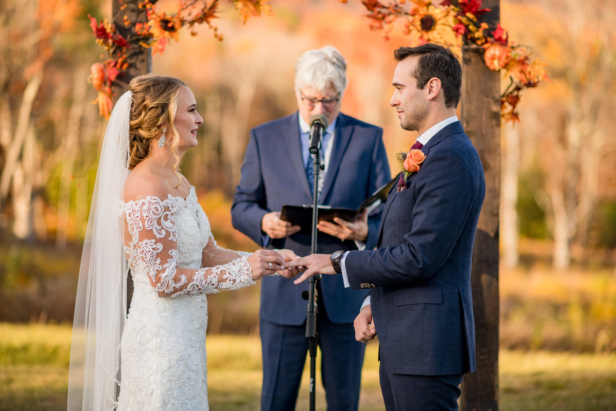 pronouncing husband and wife during outdoor venue wedding ceremony NH