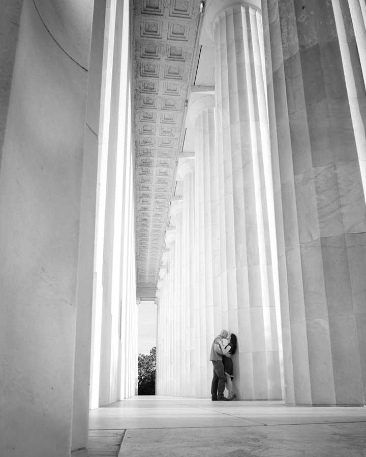 black and white engagement portraits at the Lincoln Memorial, Washington DC Wedding Photographer