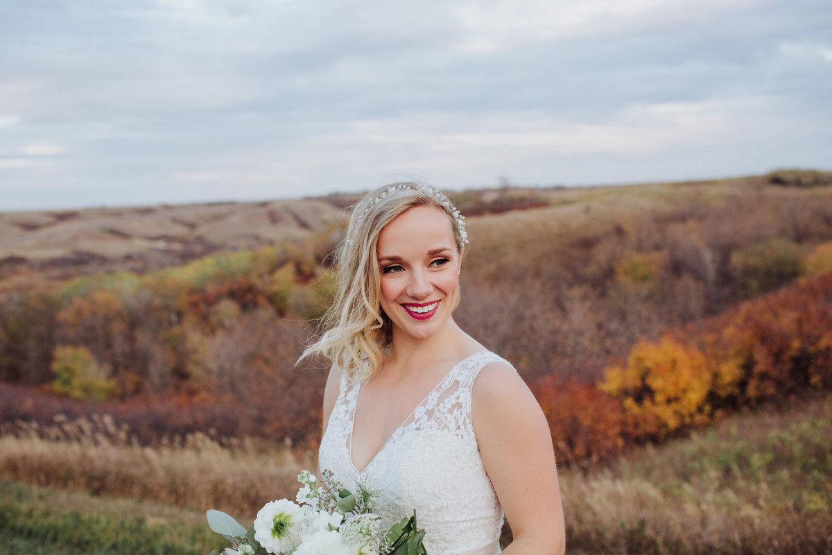 Bridal portrait of a modern bride in the Lumsden Valley in September.