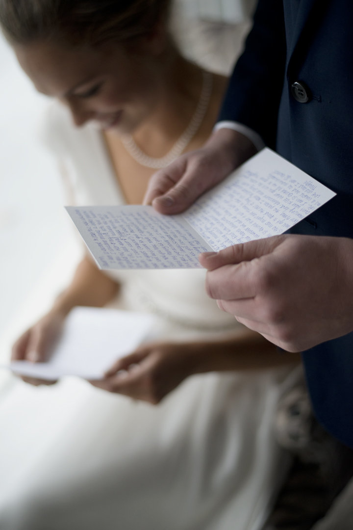 Bride and Groom Reading Love Letters, First Look