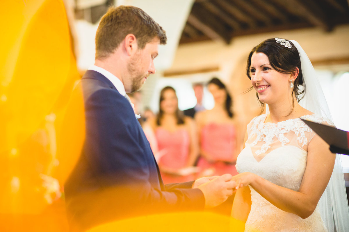 vows and ring exchange in hawkshead wedding