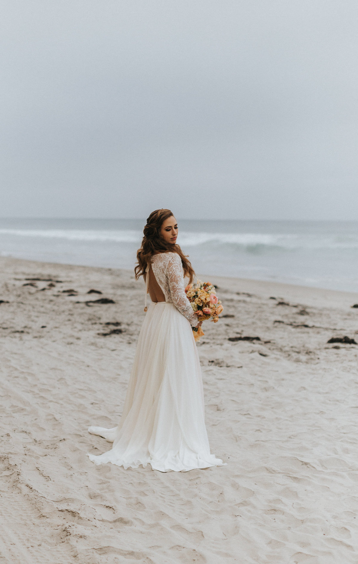 Bridal portrait during her beach elopement in San Diego, California.