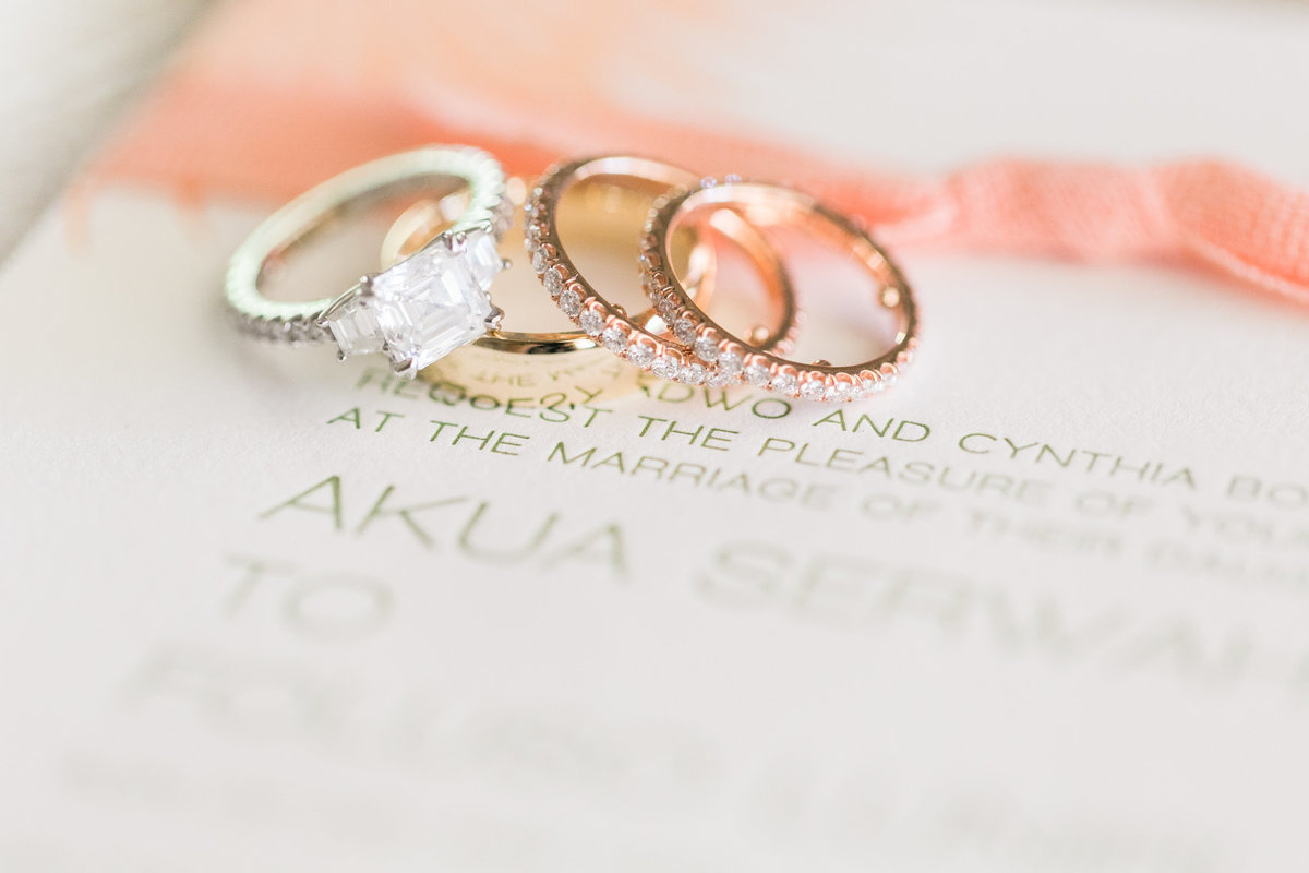 Diamond wedding and engagement rings and letterpress Invitations