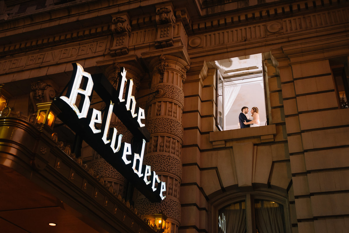 Belvedere hotel wedding couple in window