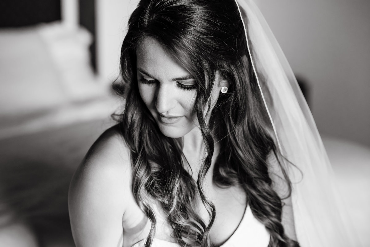 Black and white image of Bride at Carmel Valley Ranch Wedding Venue