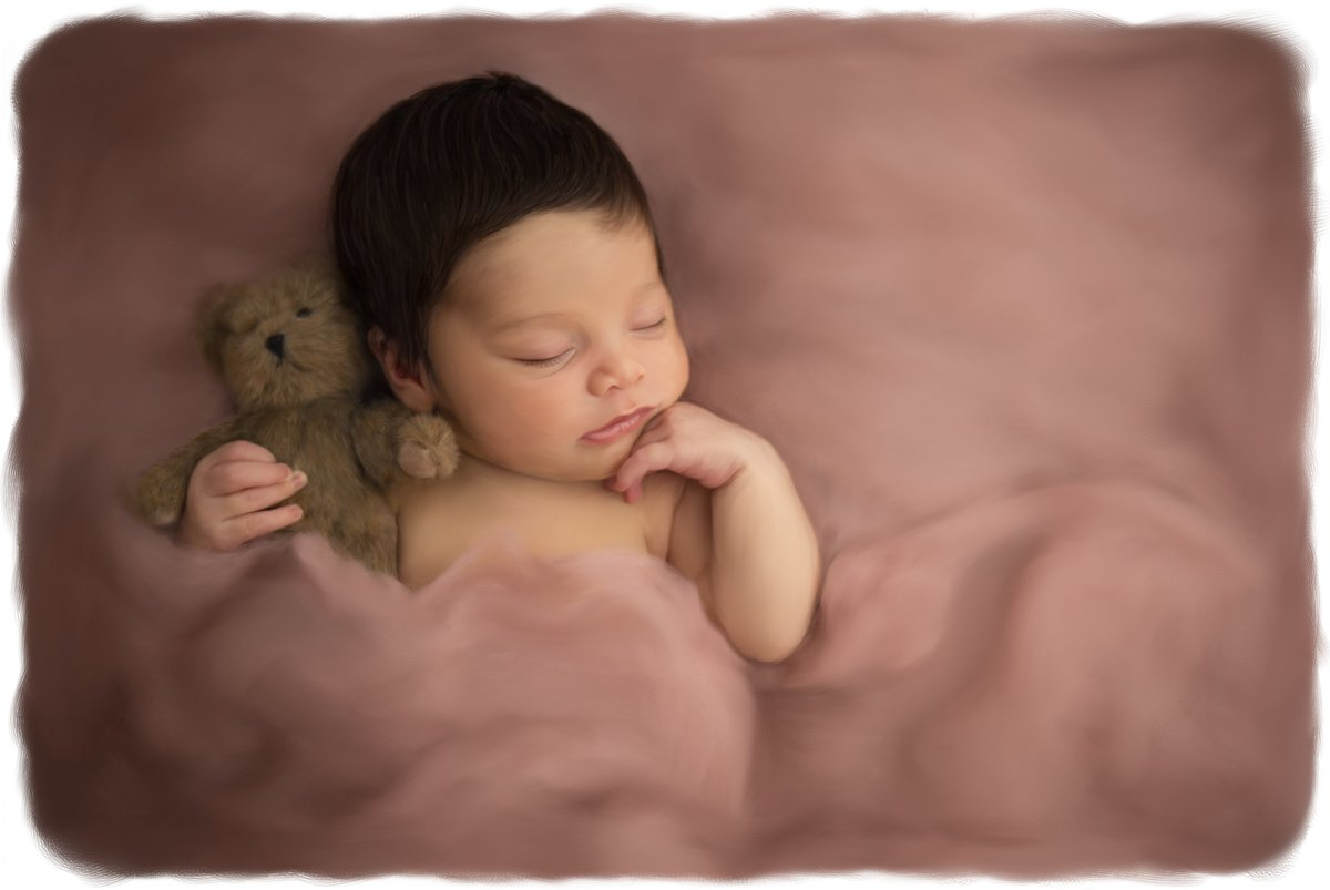 hand painted fine art photo portrait of sleeping middletown newborn baby girl snuggled in wool holding a teddy bear in the Hudson Valley by Cornwall NY professional photographer Autumn Photography