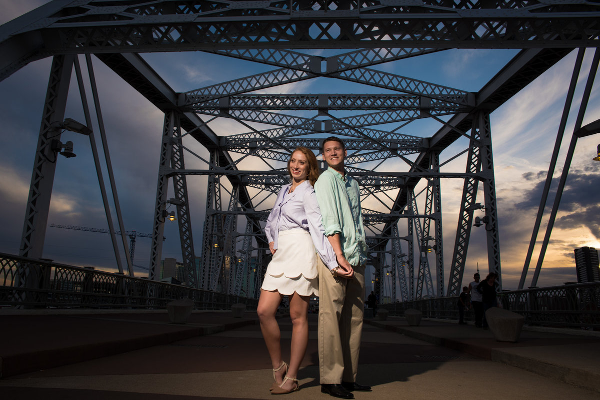 Walking bridge engagement photos