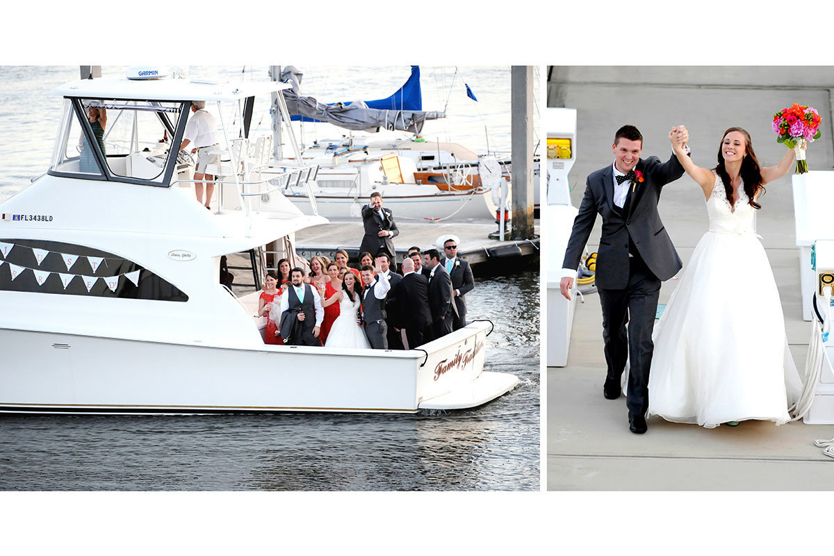 naples yacht club wedding party arriving on boat