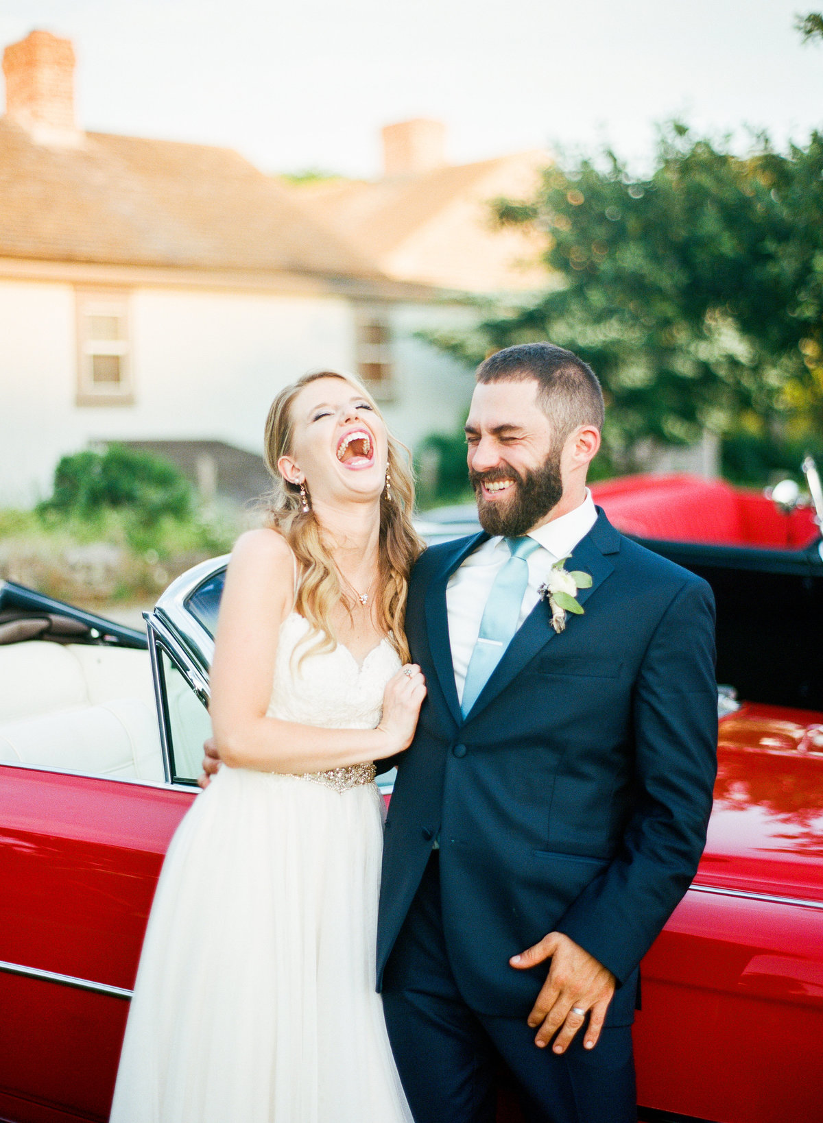 bourne farm wedding massachusetts bride and groom laughing