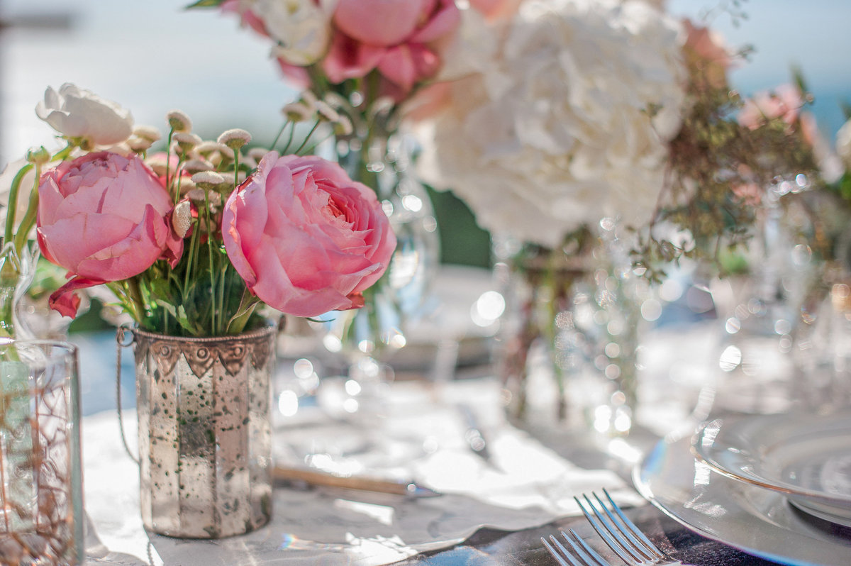 beautiful tabletop reception centerpiece ideas with mercury glass, and pink garden roses with lots of sparkle