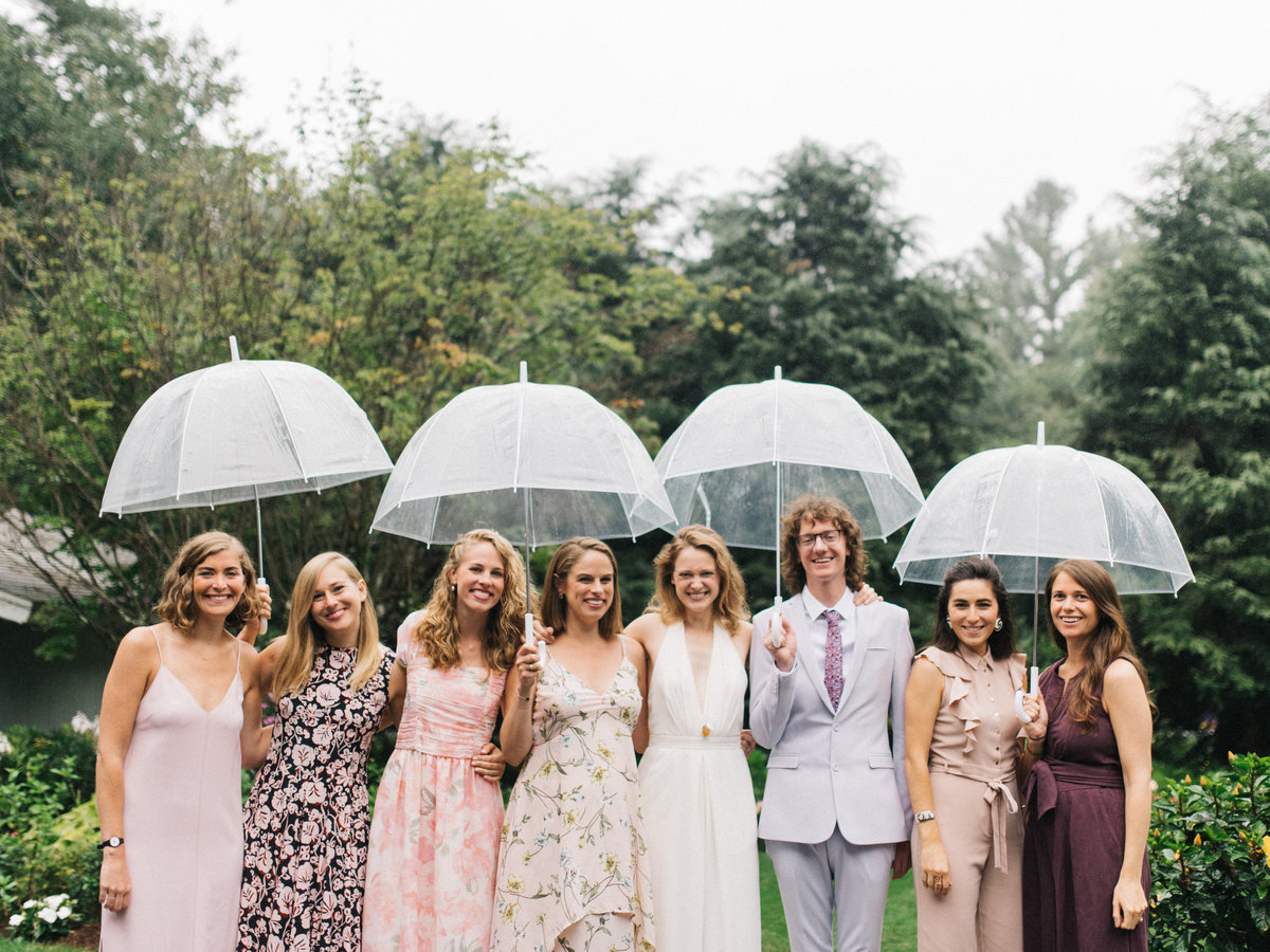 fruitlands museum wedding rain bridal party umbrellas