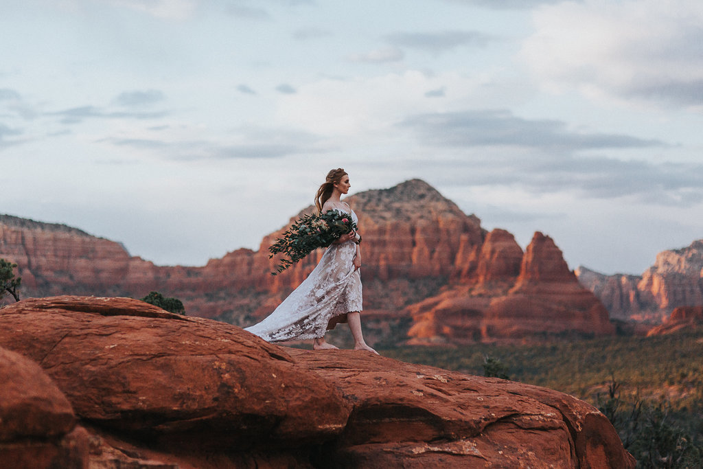 Barefoot bride in the middle of Sedona, Arizona