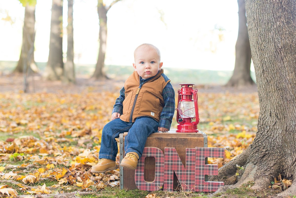 Outdoor one year old baby boy birthday portraits in White Plains, NY Photo