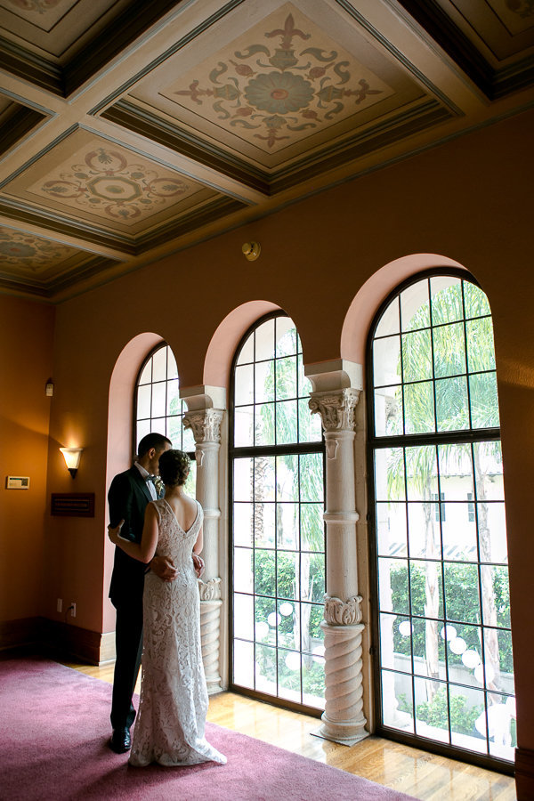 portrait of groom and bride at  the Maxwell House Pasadena