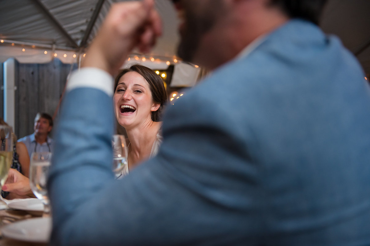 Brooklyn Wedding Photographer | Rob Allen Photography | Destination Wedding Photographer at Mt. Sinai New York  bride laughing during speach