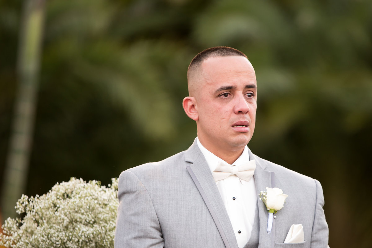 Crying Groom at Longans Place Redlands Florida Wedding Venues