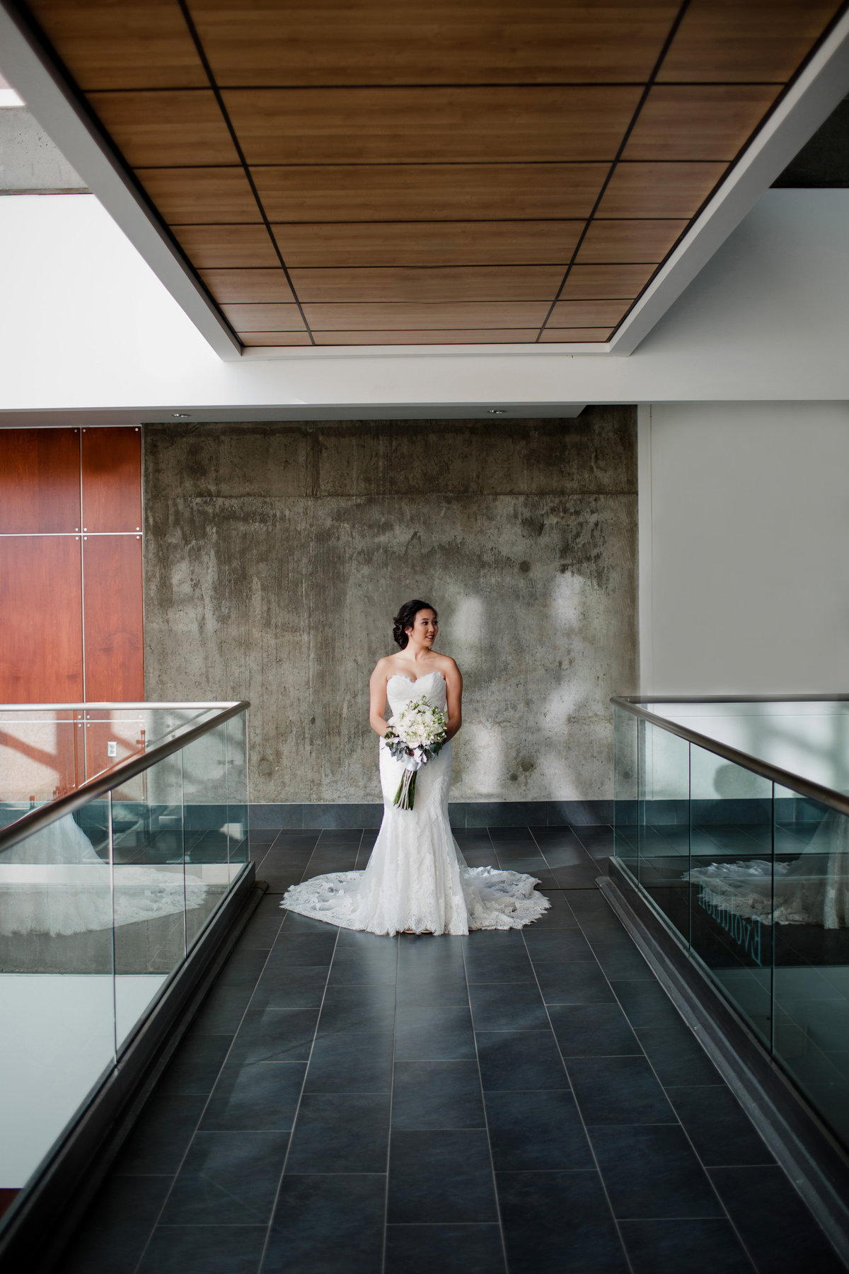 Modern bride at the University of Regina for wedding photos.