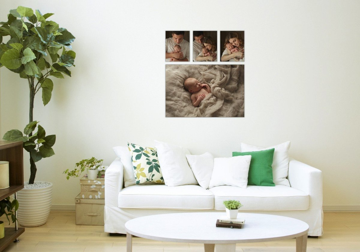 canvas wall gallery grouping of newborn baby photos by Hudson Valley NY photographer