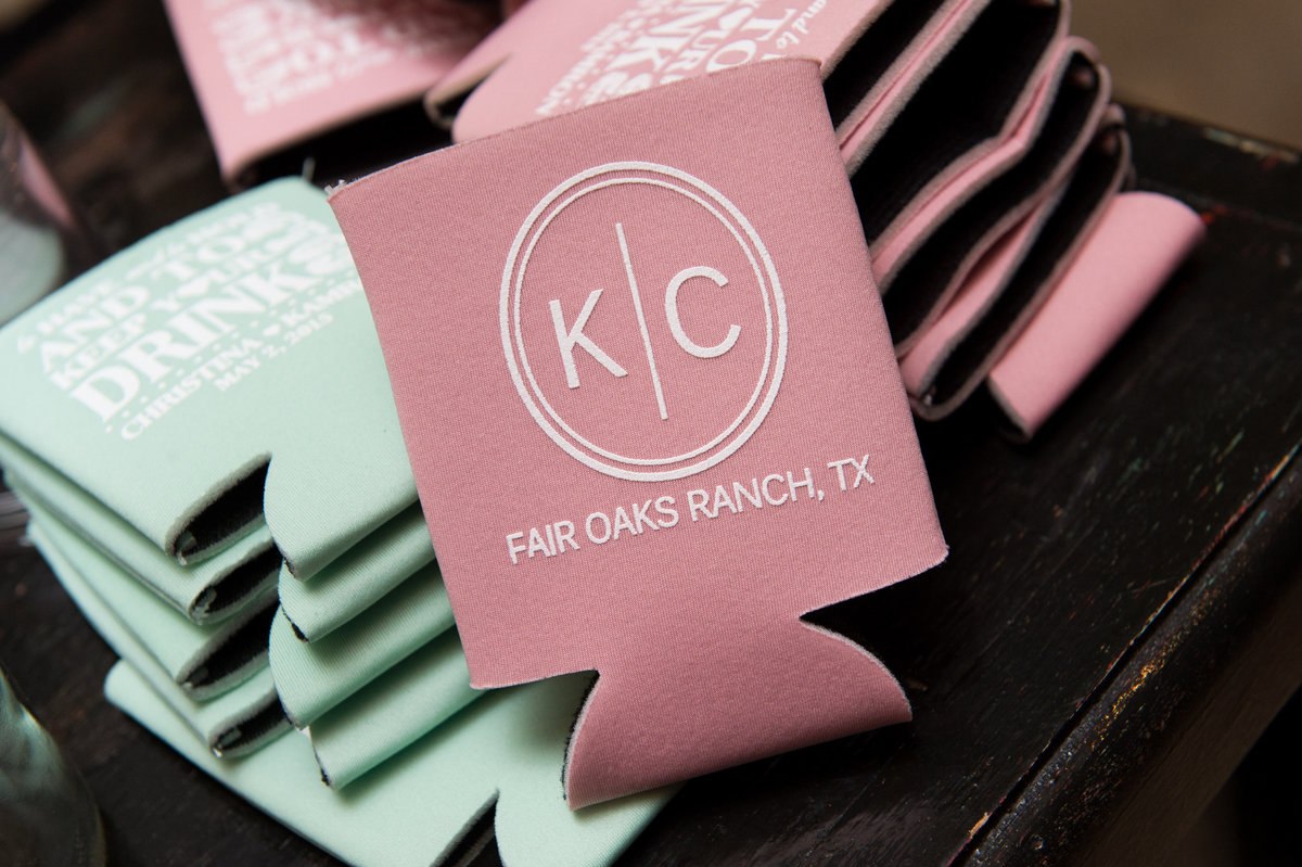 River Rock Event Center Texas  Favors Koozies Pink Monogram