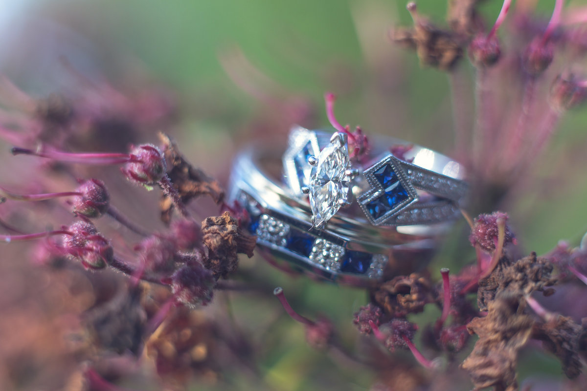 silver ring purple flower wedding photo