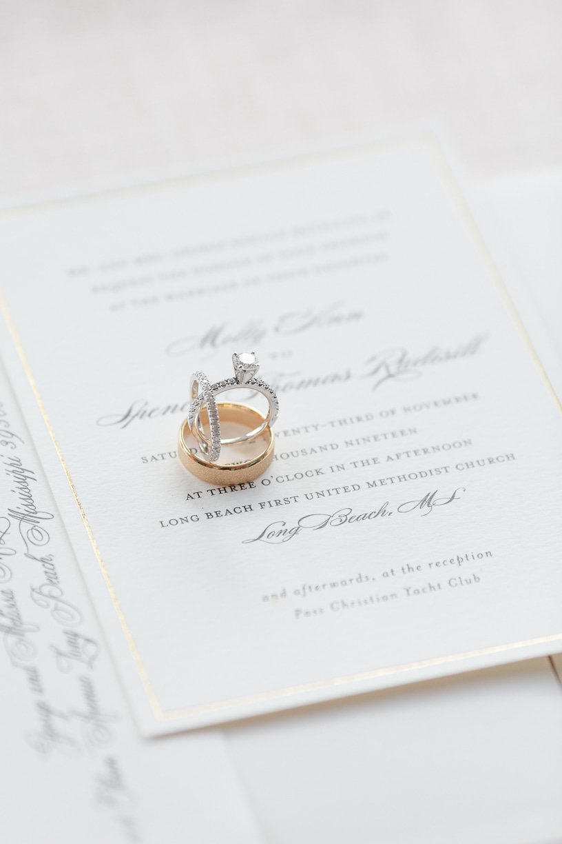 wedding rings on invitation suite | Toni Goodie Photography