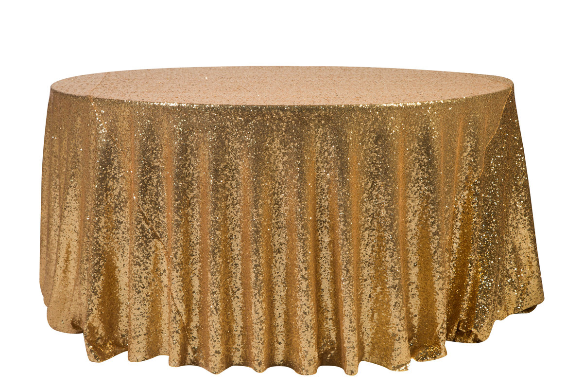 132'' Rd Gold Sequin Tablecloth