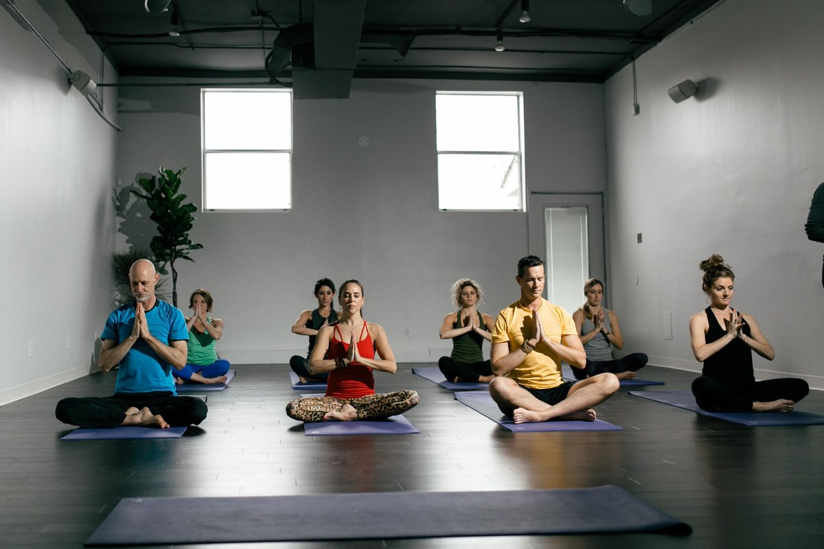 Yoga students and instructors to