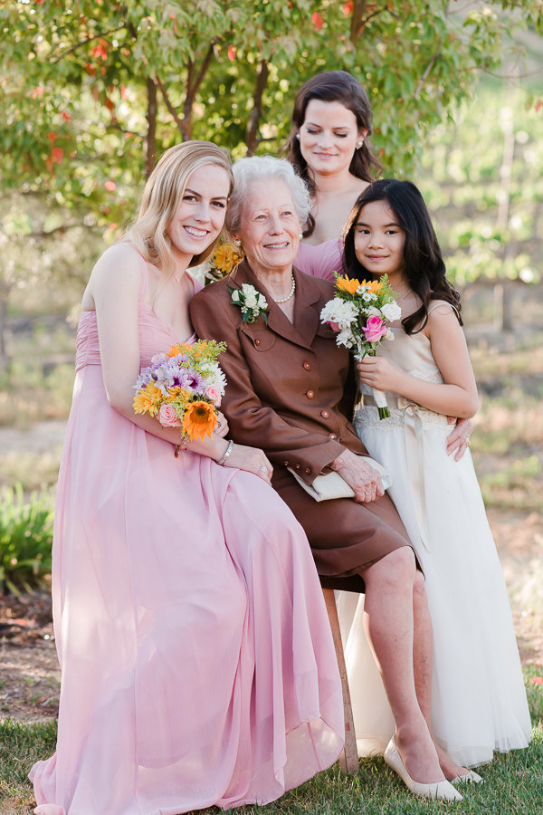 Wedding portrait of grandmother, two bridesmaids and flower girl in Vineyard