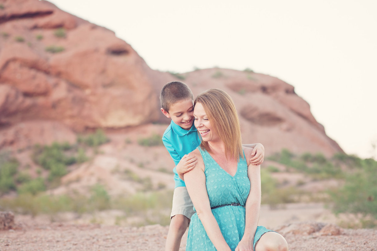Mother and son at Papago Mountain Desert in Phoenix Arizona by Family Photographer Plume Designs & Photography
