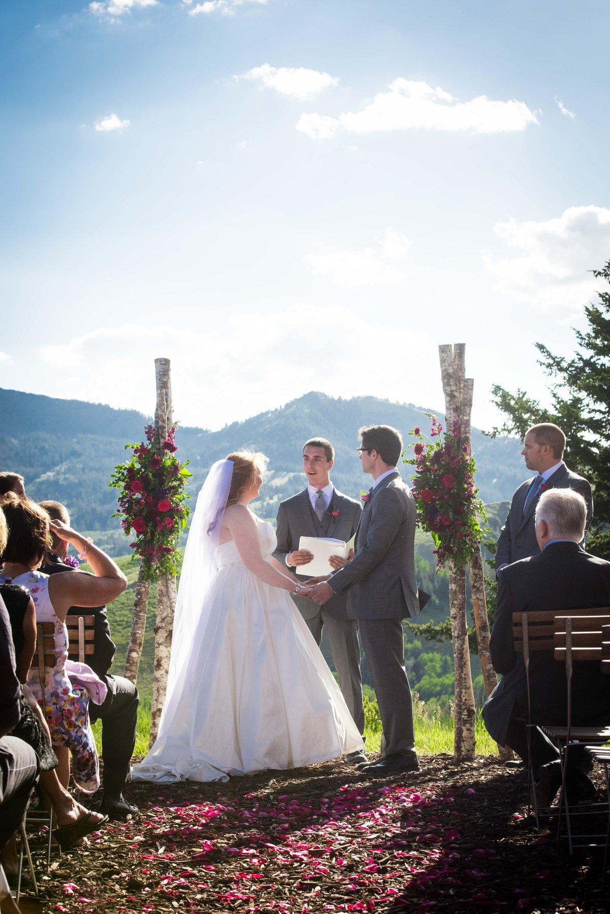 Wedding ceremony on mountaintop, Park City Utah.